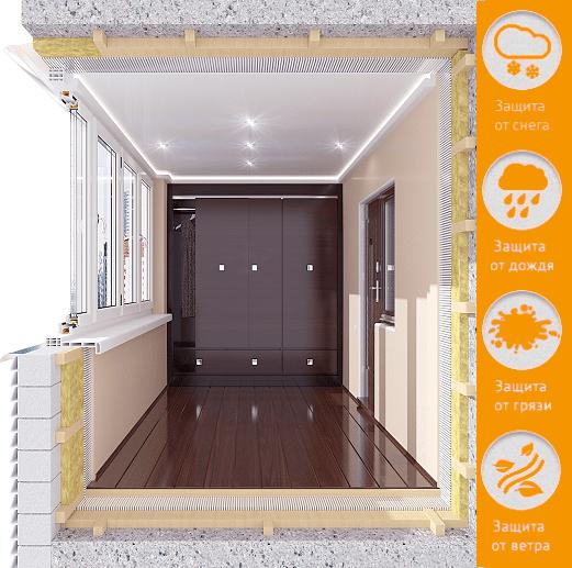 Переделка балкона под гардероб или кладовую